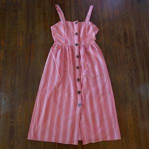Forever 21 Striped Button Down Midi Dress